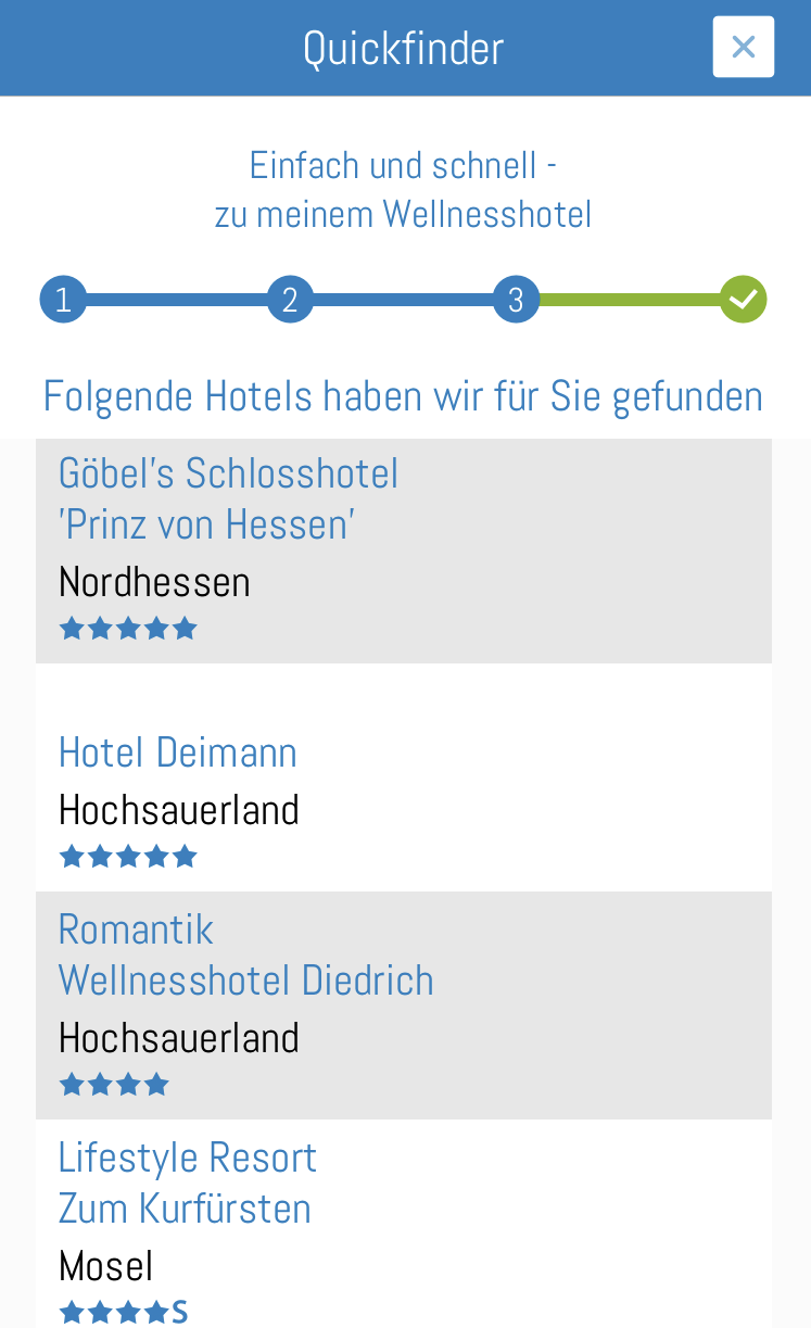 Wellness-Hotels und Resorts Quickfinder Step 1