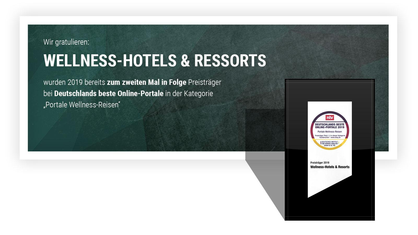 Wellnesshotels- und Resorts, eins von Deutschlands Besten Online-Portalen 2019